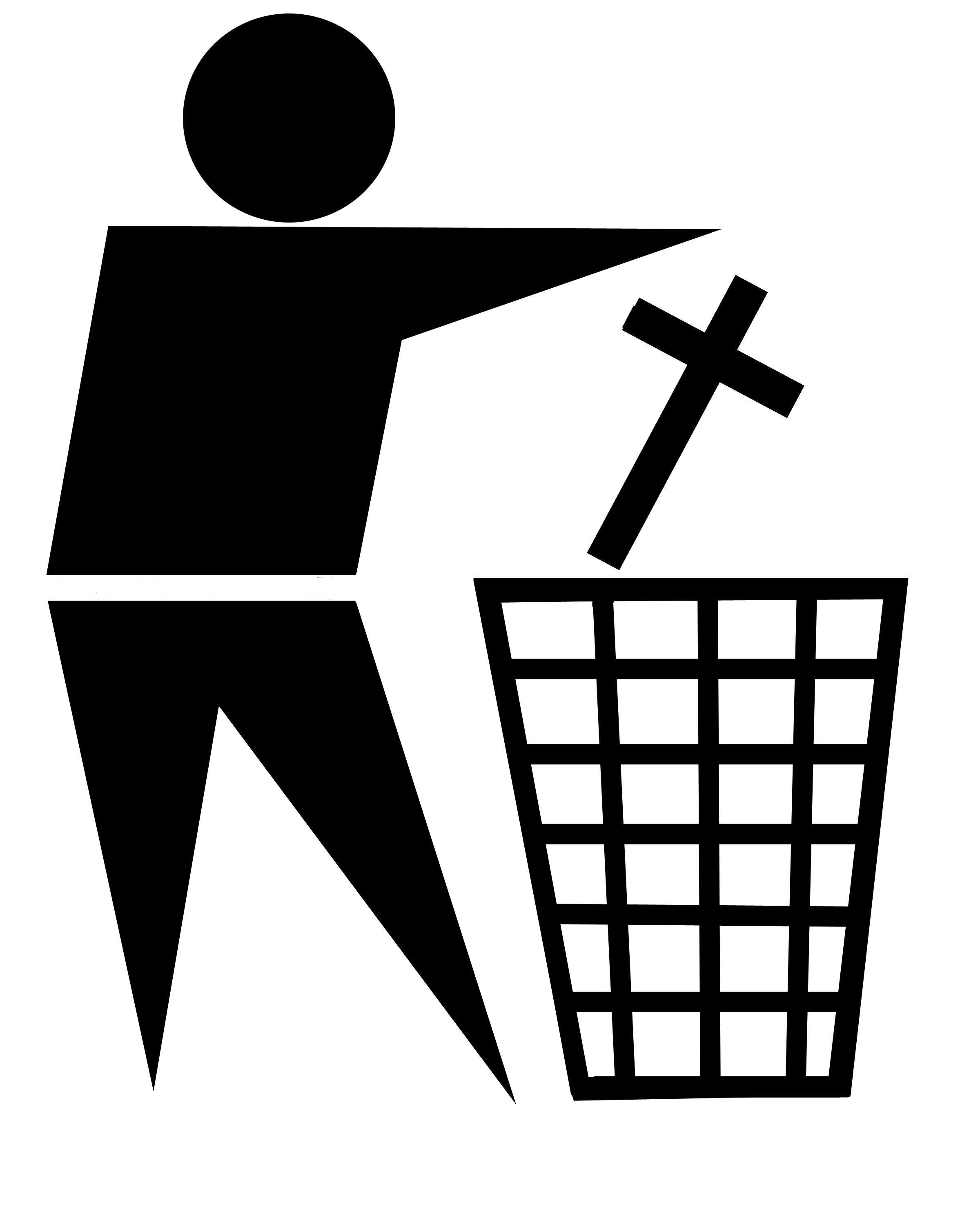 standard waste bin sign with religious cross being discarded